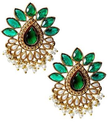 Elegant Green Indian Ethnic Push-Back Stud Earrings