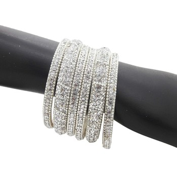 buy ethnic silver plated 6pc enamel lakh cz bangle online