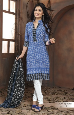 Trendy Blue & White Unstitched Pure Cotton Dressmaterial
