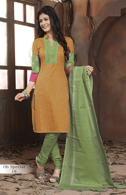 Trendy Mustard & Green Unstitched Pure Cotton Dressmaterial