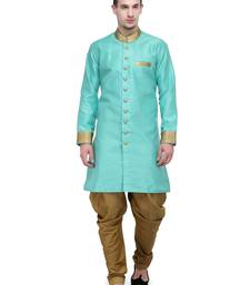 Buy Ocean Blue And Gold Plain Sherwani For Men gifts-for-brother online