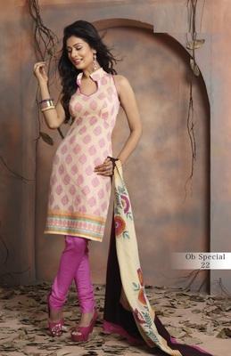 Trendy Cream & Pink Unstitched Pure Cotton Dressmaterial