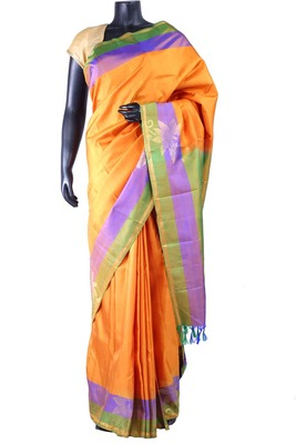Orangish Yellow pure silk saree with green pallu & blouse-SR5285