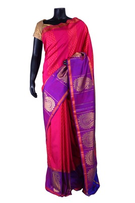 Peachish pink pure silk zari weaved saree with purple pallu & blouse-SR5299