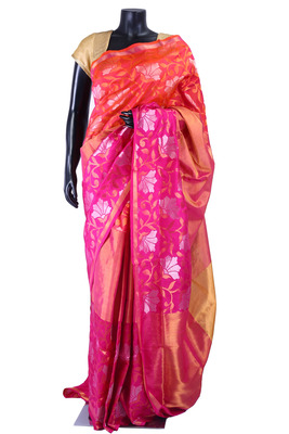 Onion pink pure silk zari weaved saree in red & pink border-SR5362