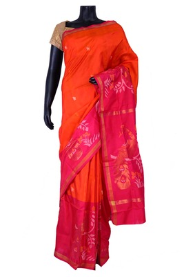 Orange banarasi silk zari weaved saree in dark pink border & pallu-SR5427