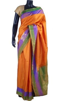 Bright mango pure silk plain saree in green pallu & blouse-SR5501