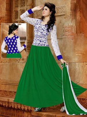 Designer Green Embroidery Work Anarkali Suit