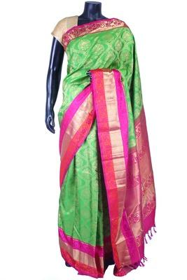 Parrot green pure silk zari weaved saree in multi colour border-SR5525