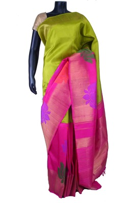 Green pure silk plain saree in pink zari weaved pallu & pink blouse-SR5542