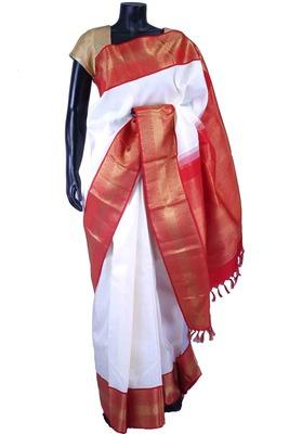 White pure silk plain saree in red & gold saree border-SR5549