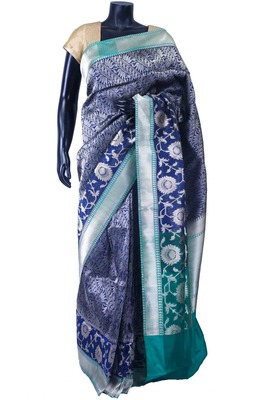 Royal blue pure silk zari weaved saree in peacock blue pallu-SR5571