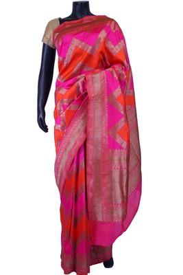 Multi colour pure silk zari weaved saree in golden pallu & border-SR5577