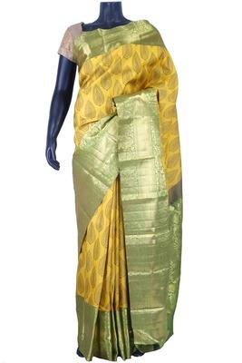Yellow pure silk weaved saree in green zari weaved pallu & blouse-SR5634
