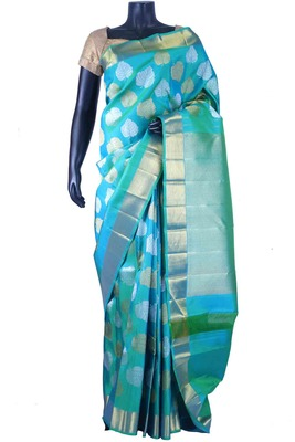 Sky blue pure silk zari weaved saree with sky blue pallu & blouse-SR5661