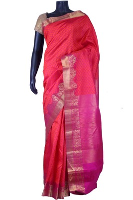 Peachish pink pure silk weaved saree with purple pallu & pink blouse-SR5664