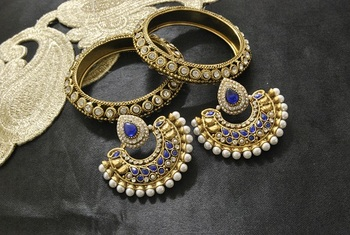 New Ram Leela Blue Colour Earrings with Gold Plated Stones Bangles