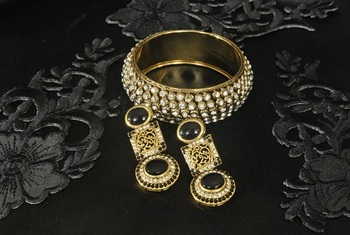 Gold Plated Handcrafted Black colour Earrings with Gold Plated Stones Kada