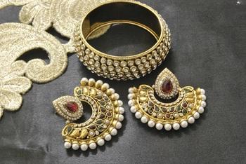 New Ram Leela Maroon & Green Colour Earrings with Gold Plated stones Kada