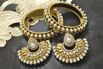 New Ram Leela Pearl Earrings with Gold Plated Bangles