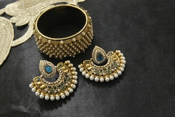 New Ram Leela Rama Green colour Earrings with Gold Plated Pearl Kada
