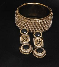 Buy Gold Plated Handcrafted Black Colour Earrings & Pearl Kada bangles-and-bracelet online