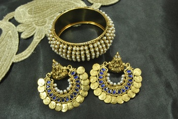 Ram Leela Blue Colour Earrings with Gold Plated Pearl Kada