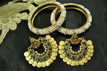 Ram Leela Maroon & Green colour Earrings with Gold Plated Moti Beaded Bangles set