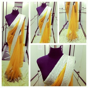 Yellow Net saree