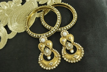 Long Pearl Earrings & Gold Plated Bangles with stones