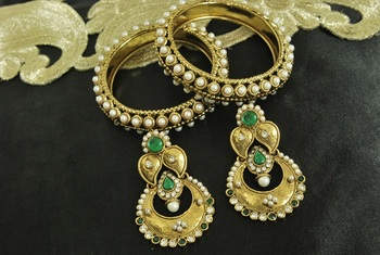 Long Green colour Earrings & Gold Plated Pearl Bangles