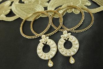 White Meenakari Earrings with 4pcs Gold Plated Bangles
