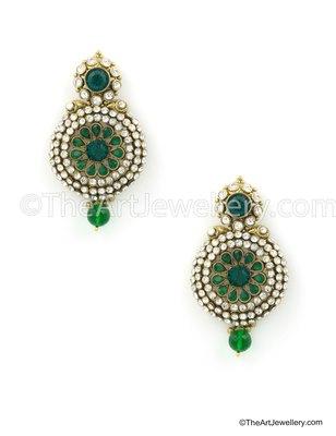 Green Traditional Rajwadi Dangle and Drop Earrings Jewellery for Women - Orniza