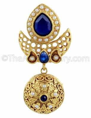 Royal Blue Traditional Rajwadi Drop Earrings Jewellery for Women - Orniza