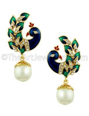 Peacock Pearl White Traditional Rajwadi Drop Earrings Jewellery for Women - Orniza