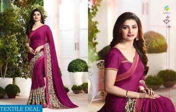 Purple printed pure silk saree with blouse