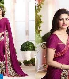 Buy Purple printed pure silk saree with blouse silk-saree online