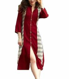 Buy Maroon printed georgette stitched long-kurtis long-kurti online