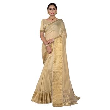 Beige woven chanderi silk saree with blouse