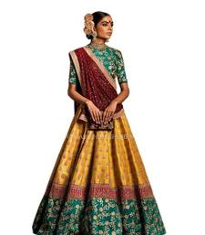 Buy Teal Green and Yellow Embroidered Silk Bridal Lehenga with Blouse lehenga-choli online