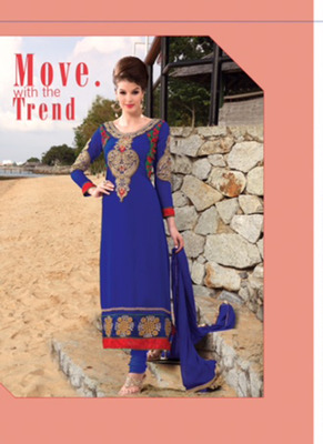 Evelyn Blue Coloured Georgette  Embroidered Dress Material