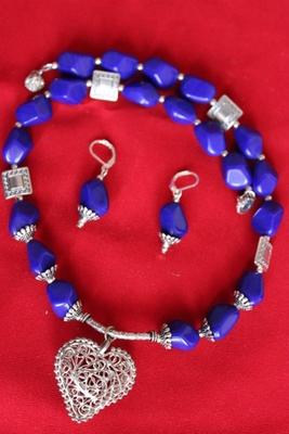 Blue Heart Neacklace Set