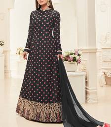 Buy Black multi resham work silk salwar with dupatta salwar-kameez online