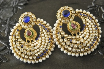 Traditional Blue colour studded with Pearl Earrings