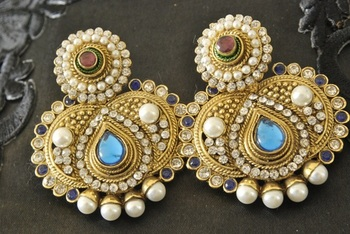 Traditional Blue colour Earring with Ruby stone