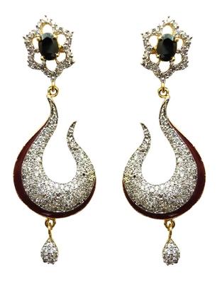 Vatika black and maroon american diamond earring
