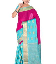 Buy Pink ananda  pure_crepe saree with blouse crepe-saree online