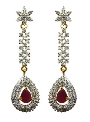 Vatika beautiful pink american diamond earring