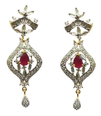 Vatika pink center stone american diamond earring