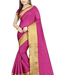 Buy Pink printed cotton silk saree with blouse below-400 online